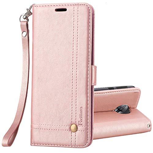 Ferilinso Hülle Kompatibel mit Xiaomi PocoPhone F2 Pro Hülle, Retro Leder mit Identifikation Kreditkarte Schlitz Halter Schlag Abdeckungs Standplatz magnetischer Verschluss (Roségold)