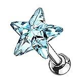 Piercingfaktor Tragus Helix Ohr Cartilage Knorpel Ear Piercing 316 L Chirurgenstahl Stecker Stud mit Kristall Strass Stern Silber Hellblau