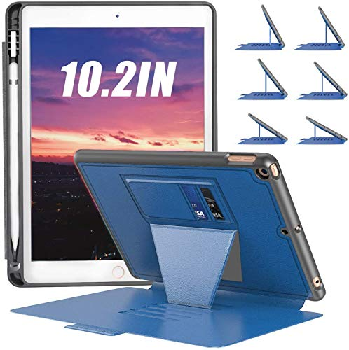 BLAVOR iPad 7th Generation Cover iPad 10.2 inch Protective Case with Apple Pencil Holder, 6 Angles Magnetic Stand, Card Pockets and Auto Sleep/Wake(Blue)