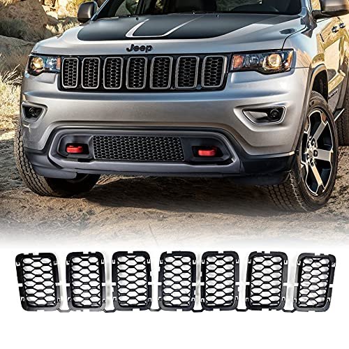 Morkot Black Honeycomb Front Mesh Grilles Inserts Grill Trim Compatible with Jeep Grand Cherokee 2017-2021