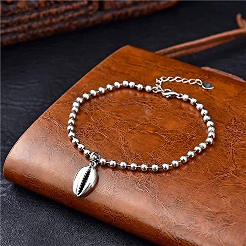 Sterling zilveren Armband Dames, Glamour Lady 925 Sterling Zilver Retro Armband Mode Shell Hanger Elegante 3Mm Kralen Persoonlijkheid Zilver Armband Eenvoudige Feest Casual Comfortabele Kerst Engagemen