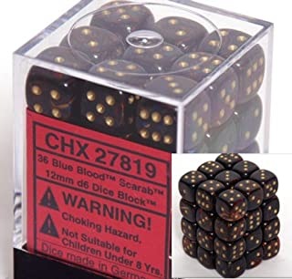Chessex Scarab 12mm d6 Blue Blood w/Gold Dice Block 36 Dice - 27819