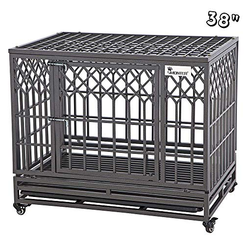 SMONTER 38' Heavy Duty Strong Metal Dog Cage Pet Kennel Crate Playpen with Wheels, Y Shape, Brown