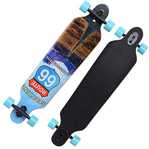 MIMI KING Longboard Skateboard 41 X 9 Zoll Professional Outdoor Für Erwachsene, Kreuzfahrt, Gratis-Stil, Abfahrt und Tanz, Thermotransfer-Druck,H