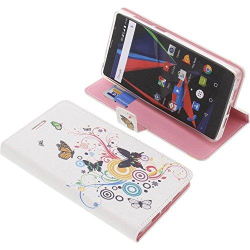 foto-kontor Tasche für Archos 55 Diamond Selfie Book Style Schmetterlinge Schutz Hülle Buch