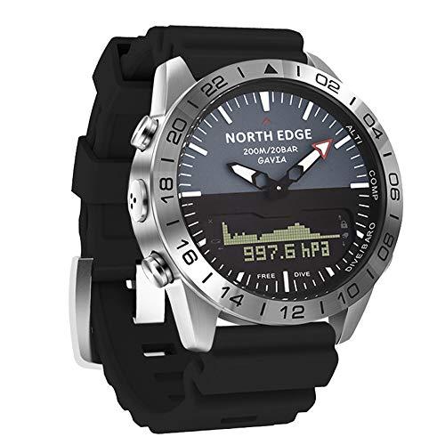 YPSMCYL Reloj De Silicona De Color para Exteriores North Edge Reloj De Buceo De Presión De Altitud Doble Pantalla Impermeable,Black