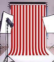 Assanu 6×8FTビニール写真の背景ストライプ赤と白のストライプの背景パーティー芸術的な子供大人写真背景1.8(W)x 2.5(H)M Photo Studio支柱