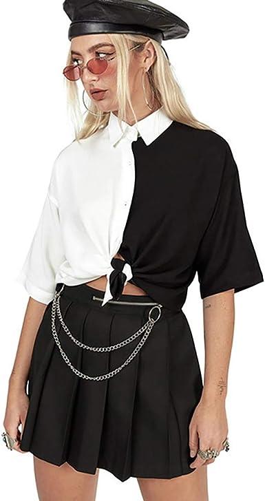 Mujer Harajuku Suelto Gótico Camisa Tops Negro Blanco Labor ...