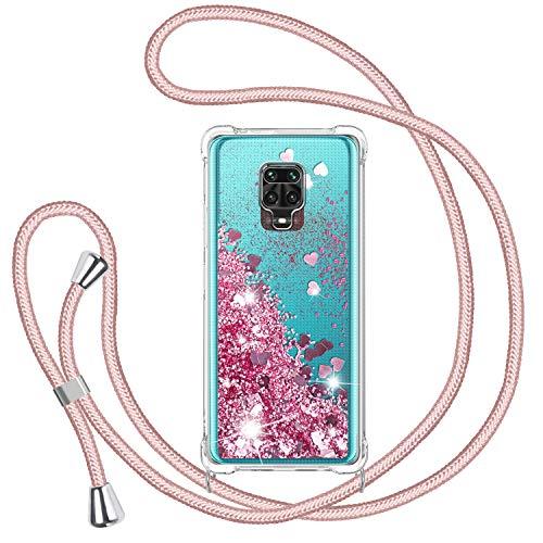 TUUT Funda Glitter Liquida con Cuerda para Xiaomi Redmi Note 9s/Note 9 Pro/Note 9 Pro MAX, Glitter Cristal Suave TPU Bumper Protector Carcasa, Arena Movediza con Colgante Ajustable Cordón Case -Rosa