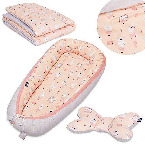 Peti Bebe Parure 3 en 1 pour nouveau-né - Nid de bébé + literie avec garnissage + oreiller de voyage - 100 % coton doux et confortable - Lapins