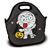 SARA NELL Neoprene Lunch Bag Halloween Mummy and Pumpkin Lunch Tote Bags Lunch Backpack Lunchbox Handbag with Adjustable Shoulder Strap for Work School Outdoor Picnic