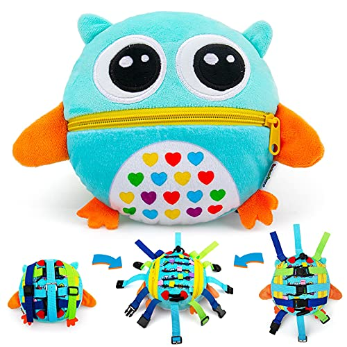 beetoy Sensory Buckle Pillow Toys for Toddlers1-3, Learning Fine Motor Skill & Threading, Zipper Toy Educational Toys for Travel