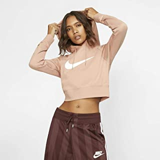 Nike Women's NSW SWSH Hoodie Crop FT, Gold(Rose Gold/White605), Medium