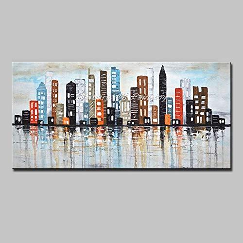 Pintura Al Óleo Pintada A Mano Sobre Lienzo, Sin Enmarcar Cuadros 3D Del Paisaje, Colorido Simple De Los Edificios De La Ciudad, Moderno Abstracto Arte De Pared Grande Decorado Salón Dormitorio Ofic