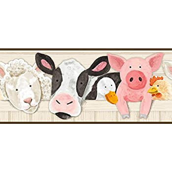 York Wallcoverings Brothers and Sisters V Barnyard Friends Border Beige White Black Pink Brown