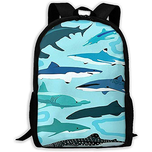 Kimi-Shop Mochila Escolar Fish of The Undersea World 3D Adult Outdoor Leisure Mochila Deportiva
