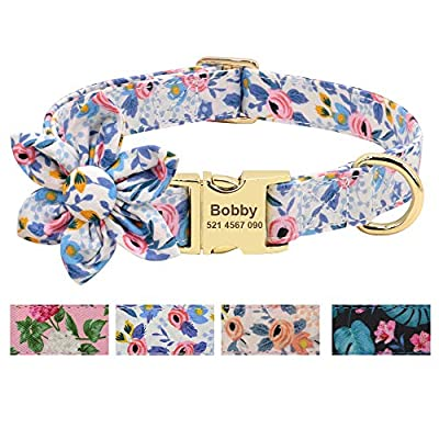 Beirui Custom Flower Girl Dog Collar for Female Dogs- Floral Pattern Engraved Pet Collars with Personalized Gold Buckle(Blue Pattern, S)