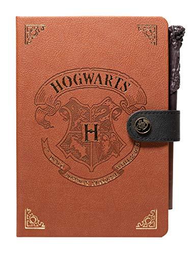 Grupo Erik Harry Potter Notebook - Notizbuch mit Zauberstab Kugelschreiber - Dotted Bullet Journal Hogwarts - Hard Cover Notizblock - Tagebuch A5, braun, CBA5001