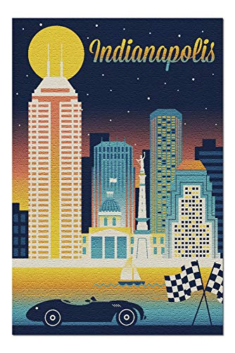 Indianapolis, Indiana - Retro Skyline Chromatic Series 108604 (19x27 Premium 1000 Piece Jigsaw Puzzle for Adults, Made in USA!)