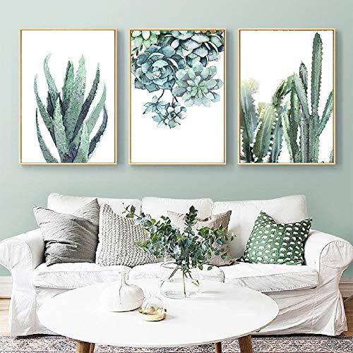 Aquarell Leinwand Kunst Malerei Nordic Style Grün Sukkulente Pflanze Poster und Druck Aloe und Kaktus Wandbild für Office Decor 40x60cmx3 ungerahmt