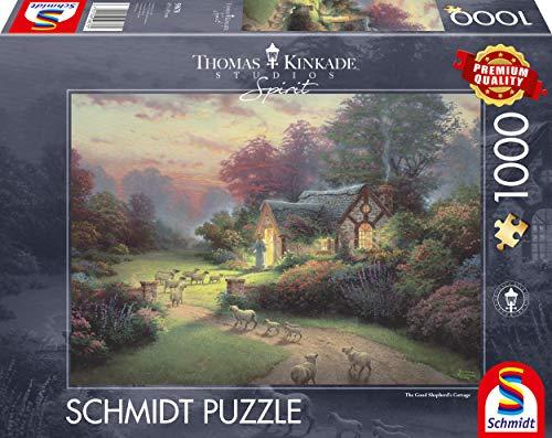 Schmidt Spiele 59678 Thomas Kinkade, Spirit, Cottage des Guten Hirten, 1.000 Teile Puzzle