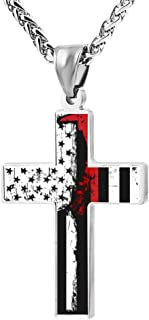 Firefighter Red Line American Flag Various Jewelry Zinc Alloy Cross Pendant Necklace for Men Women with Necklace,24 Inch