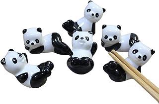 hugestore 6pcs chinos de osos Panda patrón de cerámica palillos resto accesorio de soporte soportes para cuchillos
