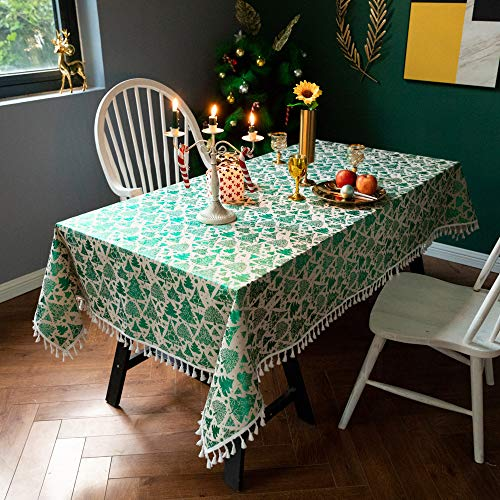 XIAOE Christmas Tablecloth Cotton Linen Bronzing Christmas Tree Decoration Party Table Cover Dining Table Red Cover Cloth Rectangle Kitchen Dinning Party Living Room Outdoor 110 * 110cm