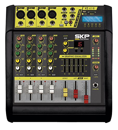 SKP PRO AUDIO VZ-40 II Recording Stereo power Output 200w + 200w @ 4 ohm POWERED MIXER …