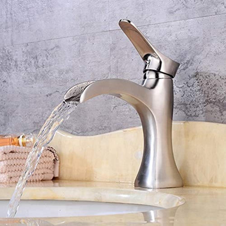 Bathroom Sink Tap Nickel Brushed Basin Sink Mixer Tap Single Handle Single Handle Low Waterfall Faucet Bathroom Faucet