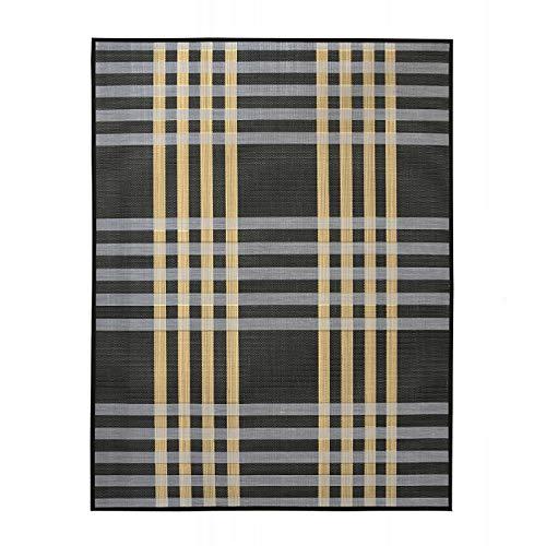 Alfombra de Salón o Comedor, Negro, con Rayas Blancas y Amarillas, de Bambú Natural 180 X 300cm Natur, 180x300 - Hogar y Más