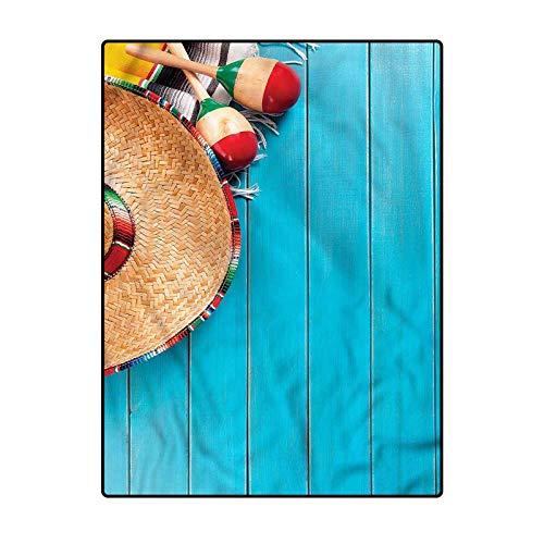 Mexican Laundry Room Rug Mordern Indoors for Living Room Girls Boys Kids Latin Sombrero 5 x 7 Ft