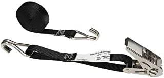 1 Inch x 10 Foot Black Stainless Steel Thumb Ratchet Strap with Wire Hooks