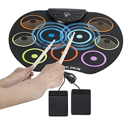 Portátil enrolle el tambor electrónico, 9 almohadillas Digital Bass Tambor con 2pedales y maletas, entrada de audio de 3.5 mm, admite la grabación, el mejor regalo de música para niños principiantes