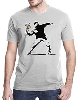Gbond Apparel Banksy Flower Thrower T-Shirt XL Gray