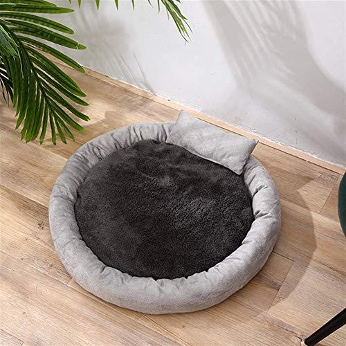QWSX New Warm-Runde Hundebett Round Pet Lounger Kissen for Small Medium Hunde & Katzen-Winter-Hundehütte-Welpen-Matten-Haustier-Bett-Katzen-Bett (Color : Light Grey, Size : 50cm)