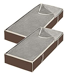 Whitmor Zippered Underbed Bags Java Set of 2 Pieces