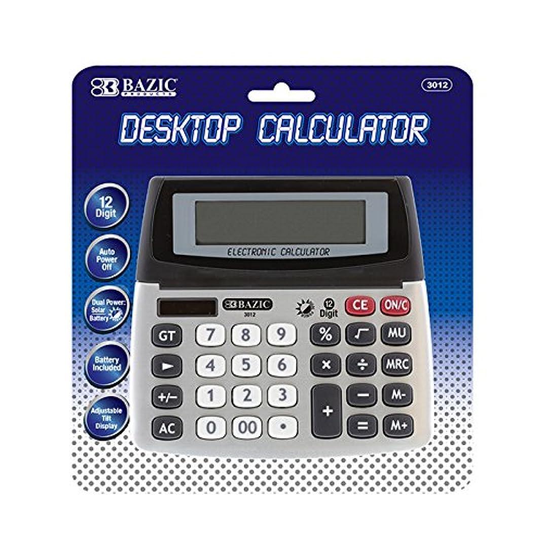 活気づける未使用蘇生するBAZIC 12桁デュアル電源デスクトップ電卓W/調節可能な表示、ケースパックof 12