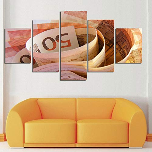 Wandkunst HD Drucke Wohnkultur 5 Stücke Papier Geld Wohnzimmer Leinwand Malerei Schlafzimmer Bild Modulare Bilder Kunstwerk Poster-4x6/8/10inch,Without frame