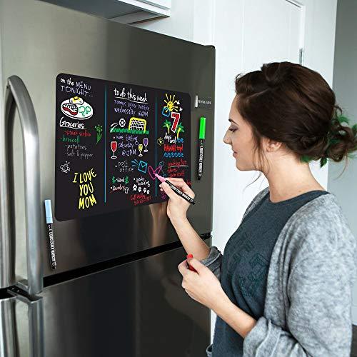 Magnetic Black Dry Erase Board for Fridge with Bright Neon Chalk Markers - 17x11 - 4 Liquid Blackboard Markers with Magnet - Small Whiteboard Chalkboard for White Refrigerator