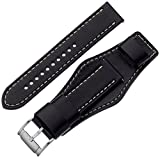 Fossil Unisex 22mm Leather Interchangeable Watch Band Strap, Color: Black Cuff (Model: S221241)