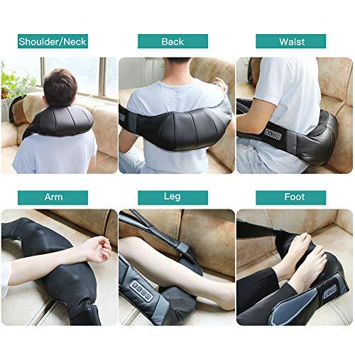 5150souO ML - Masajeador de Cuello Hombros Espalda Eléctrico con Función de Calor, Shiatsu Masajeador Cervical, Masaje de Rotación 3D, Velocidad Ajustable, Relajación para Cuello y Hombros en Casa, Oficina o Coche