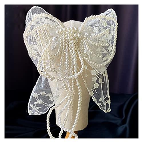 feiren Horquilla de encaje con borla de perlas de hadas para niñas y mujeres, decoración de pelo, accesorio para el cabello de novia, boda, accesorios para el cabello (color : horquilla de lazo)