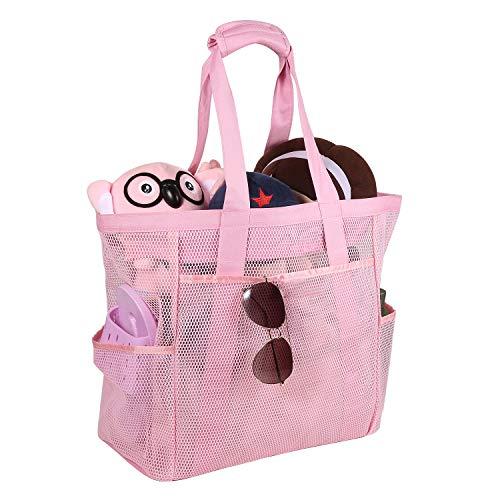 ROSA&ROSA Mesh Strandtasche Extra Große Faltbare Einkaufstaschen für Familie Urlaub Baden Shopper Reise Picknick (Pink)