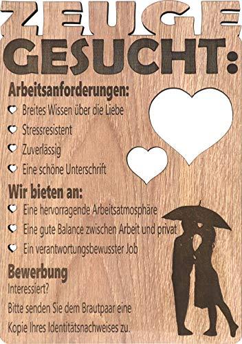 Glückwunschkarte aus Holz (Laminat), um jemanden zu fragen, ob er Trauzeuge bei Ihrer Hochzeit werden möchte - NILUBI