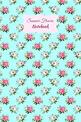 Aqua Blue Writing Notebook with Pink Flower Trellis Print