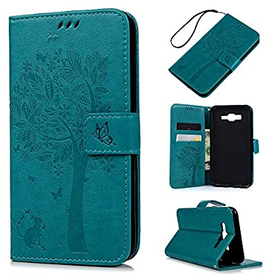 J7 Case,Samsung Galaxy J7 Case (2015 Version) - Wallet Embossed Butterflies Tree Premuim PU Leather Soft TPU Inner Cover with Wrist String & Magnetic Clip & ID/Credit Card Holders by Badalink