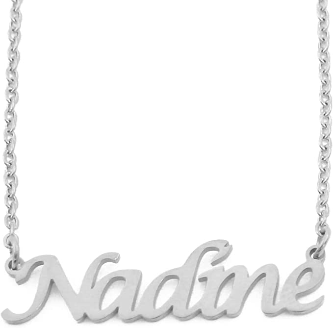 Nadine Name Necklace 18ct Silver Tone Personalized Dainty Necklace