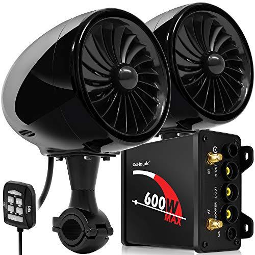 "GoHawk TJ4 2.1 Channel 600W Amplifier 4"" Full Range Waterproof Bluetooth Motorcycle Stereo Speakers Audio System AUX FM Radio for 1 to 1.25 in. Handlebar Harley Yamaha Can-Am ATV UTV RZR Polaris"