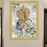 Kingkoil Armyqz - Kit de punto de cruz, diseño de lirio virgen, bordado cuadrado, mosaico de cristal, icono religioso, decoración del hogar, 60 x 90 cm, sin marco